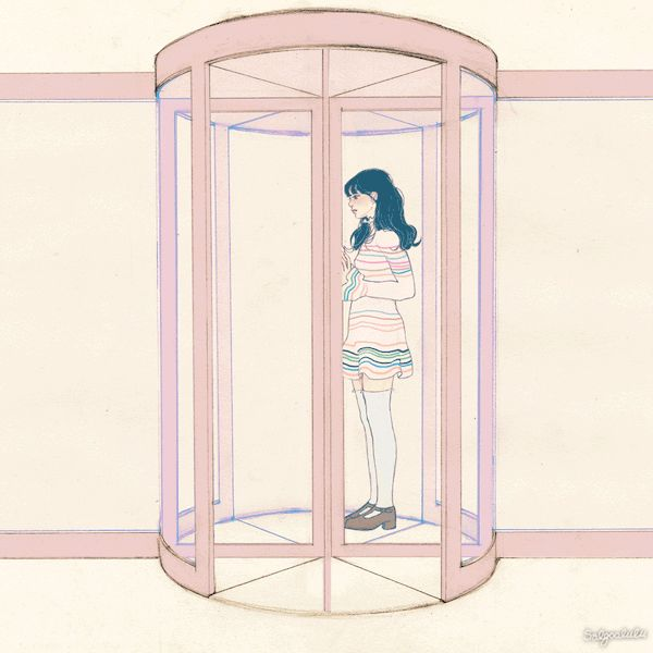 A revolving door rotating clockwise. 반 시계 방향으로만  돌고 도는 회전문  Once you enter it, you can't come out backwards.  한번 들어가면, 뒤돌아 나올 수 없다.When you revolve once 회전문을 한바퀴 돌아 나오면,and twice, and come out, 또 두바퀴 돌아 나오면,you realize. 깨닫게 된다.The revolving door revolves in one direction. Once you've entered in one direction, 한 방향으로만 돌고 도는 회전문. 그 회전문으로 들어온 그 곳으론,you can't go out again backwards. 다시 뒤 돌아 나갈 수 없다는 것을.