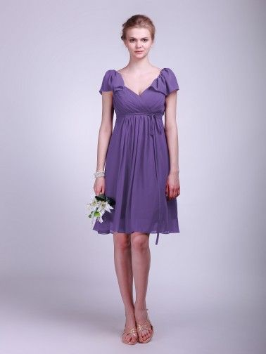 Ruffled Cap Sleeve Chiffon Bridesmaid Dress | Plus sizes available! You can even custom dress color with them!