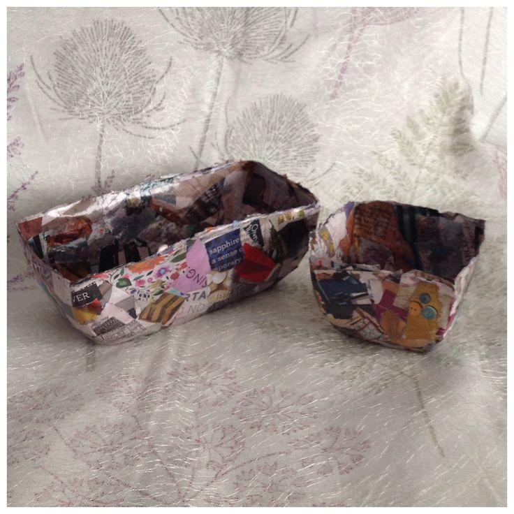 Set of 2 Hand Made Papier Mache Decorative Bowls, Pop Art Style, Multicoloured, Oval
