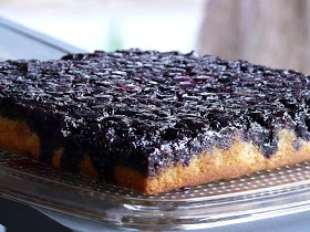 Blueberry Upside-Down Cake  ===========================  Often called gateau aux bleuets or pouding aux bleuets, this cake and its many variations are popular in Quebec. Taken warm from the oven and turned upside-down, it becomes a delicious pudding to serve with whipped cream; left in the pan to cool, it becomes a cake.
