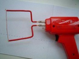 Hot Wire Foam Cutter - Homemade hot wire foam cutter adapted from a 100W soldering gun.