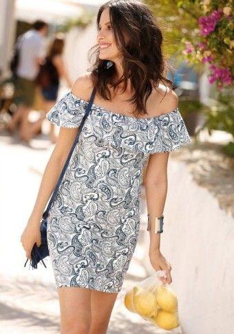 Šaty s lodičkovým volánovým výstrihom ... #offshoulder #offshoulderdress #dress #style #fashion #outfits #lemons