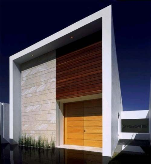 cube house minimalist house design with white stone wall and wooden panel and small front yard tropical minimalist home design ideas with frameless windows - House Designs Ideas