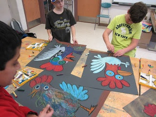 The terrifically colorful roosters are one of my all time favorite projects...theyre inspired by Picassos Le Coq...and I think all of the students were channeling his creativity when they worked on these. I would frame each and every one of them...love...love...love the results!