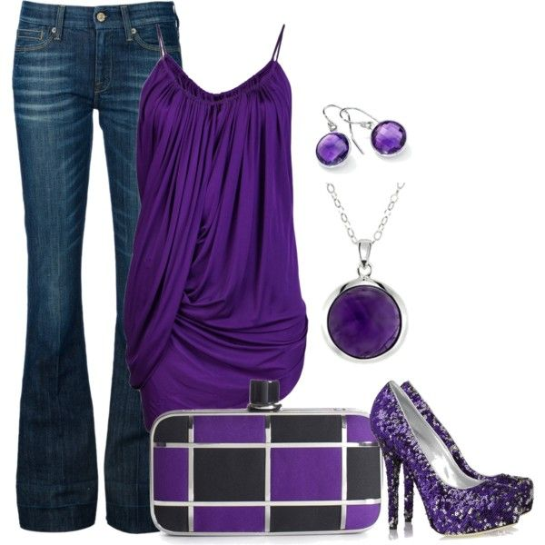 """""""Amethyst"""" by missteacherlady on Polyvore: Shoes, Outfits, Purple Outfit, Fashion, Style, Color, Dream Closet, Clothes, Purple Top"""