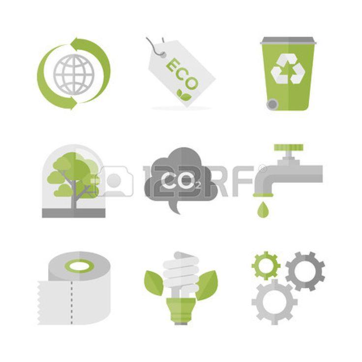 Iconos planos conjunto de reciclaje de residuos y materiales eco, ecología y conservación de la naturaleza, la producción ecológica y la protección del medio ambiente. Foto de archivo