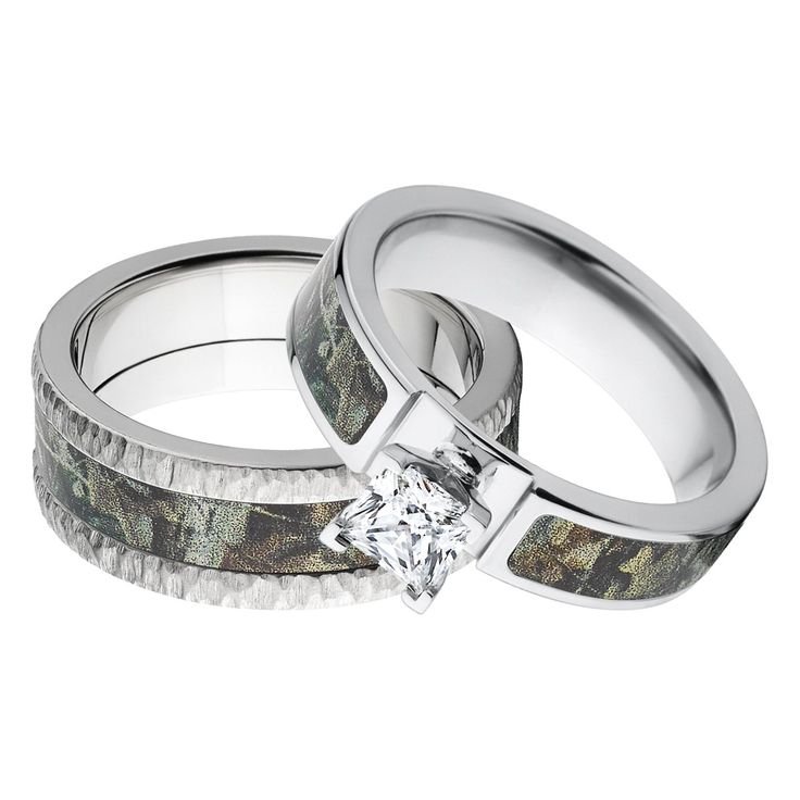 His and Her's Matching RealTree Timber Camouflage Wedding Ring Set