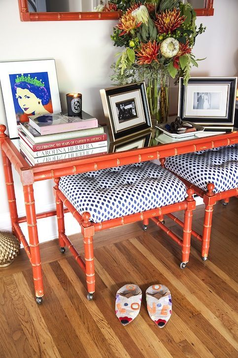 Vintage orange bamboo recovered - makes me happy when I come home! cc @Holly Elkins Elkins Elkins Richer #chicpeeksf
