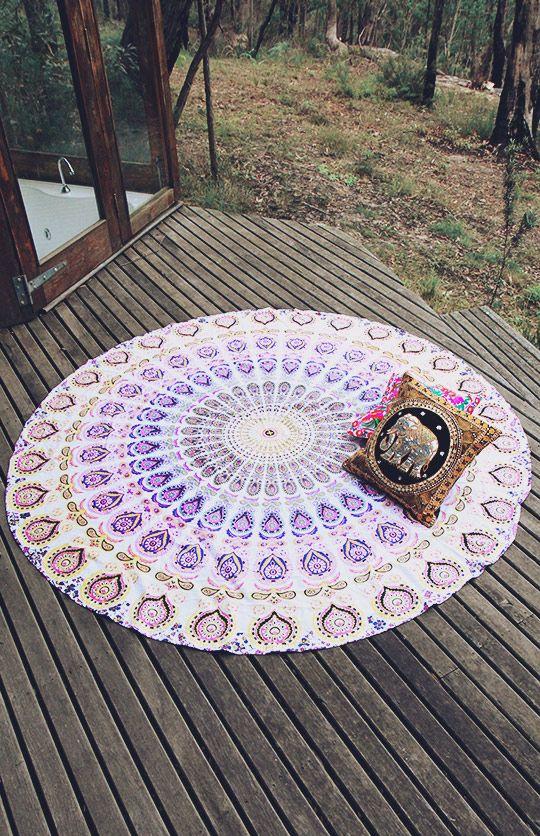 By The Moon - Phoenix Mandala Throw - Round - Purple/Yellow | New Arrivals | Peppermayo