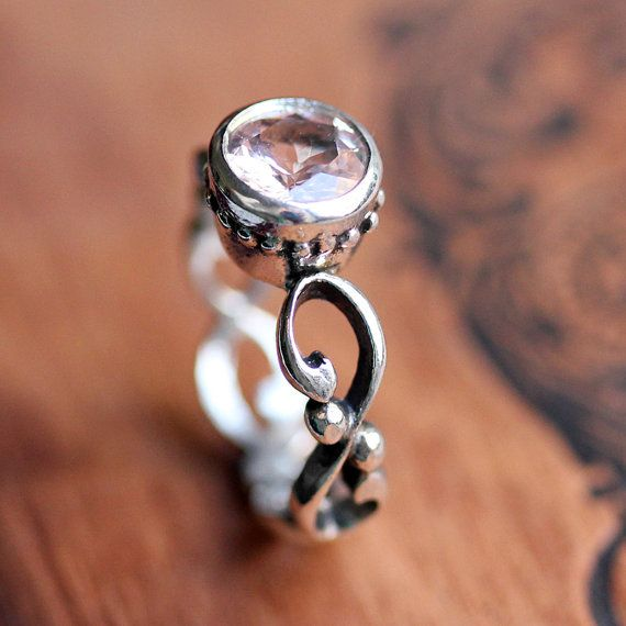 Morganite Engagement Ring Bezel Solitaire Pink By Metalicious, $180.00 Amazing Pictures