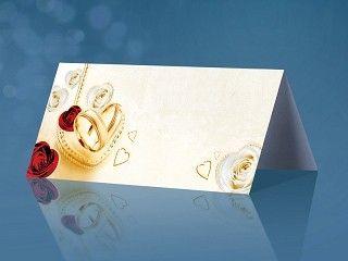 Bordkort Gullringer og røde roser 25 stk