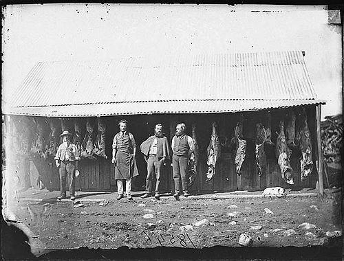 G.H. Bryant's butcher shop, Clarke Street, Hill End, 1871-1875 / American & Australasian Photographic Company