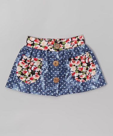 Look what I found on #zulily! Denim Polka Dot & Floral Button-Up Skirt - Infant & Toddler #zulilyfinds