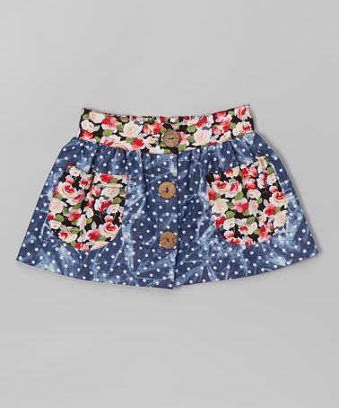 Look what I found on #zulily! Denim Polka Dot & Floral Button-Up Skirt - Infant & Toddler #zulilyfinds