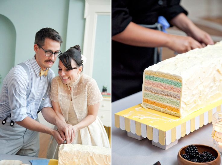 This couple makes me resent bowties and everthing mint colored.  Which is sad because usually mint and bowties are up there with David Bowie and soy lattes. But I love the cake.
