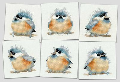 Chick Square Coasters - Little Friends by Valerie Pfeiffer (counted cross stitch kit)