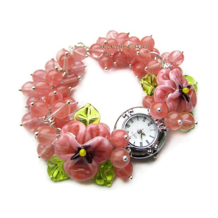 """Купить """"Розовая глазурь"""" часы с бусинами лэмпворк - часы, часы наручные, наручные часы"""