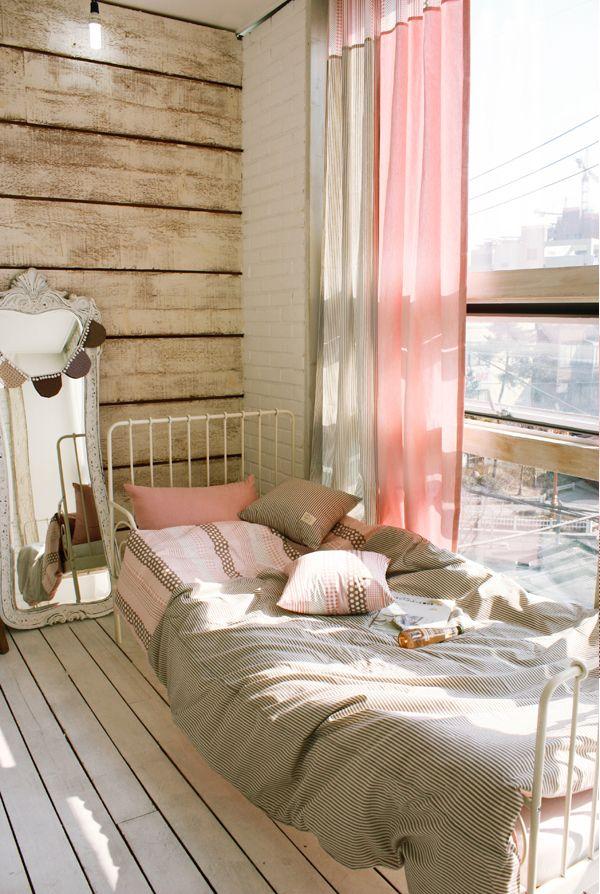 [바보사랑] 핑크와 브라운 컬러의 믹스가 편안하고 아늑해요 /커튼/커텐/배색/심플/예쁜커튼/방꾸미기/인테리어/데코/화사한/Curtain/Appearance/Simple/Adornment/Interior/Decoration/Bright