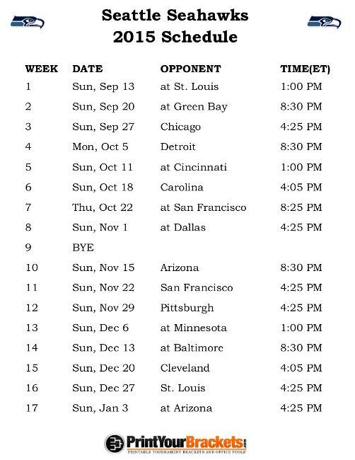 Printable Seattle Seahawks Football Schedule