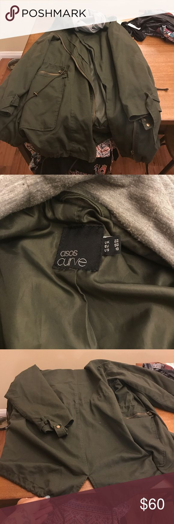 Asos Curve army green parka! Gently used Asos Curve parka! Size 18, long and oversized but an amazing jacket! Warm and comfortable! ASOS Curve Jackets & Coats