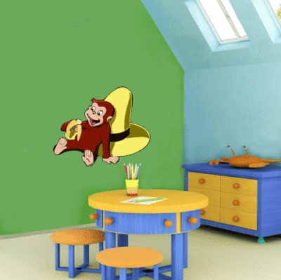 17 best images about school decoration on pinterest wall for Curious george wall mural