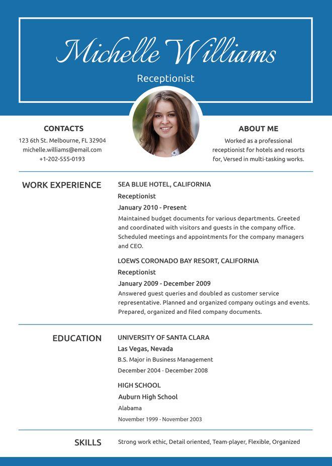 Free Basic Receptionist Resume ko Pinterest Receptionist, Cv - resume form