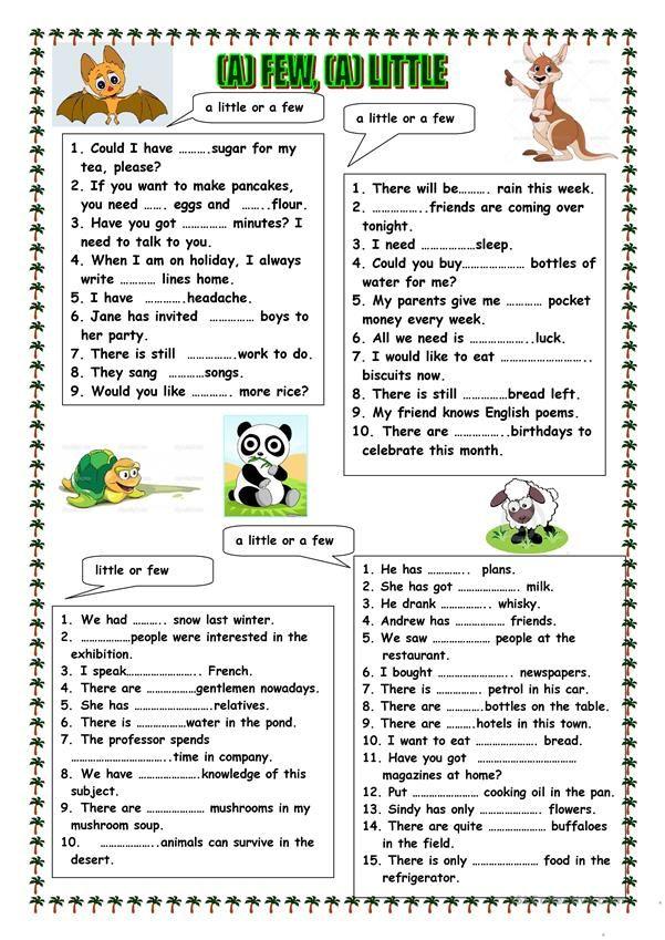 A Few A Little English Grammar Exercises Learn English Teaching English Grade 11 grammar worksheets