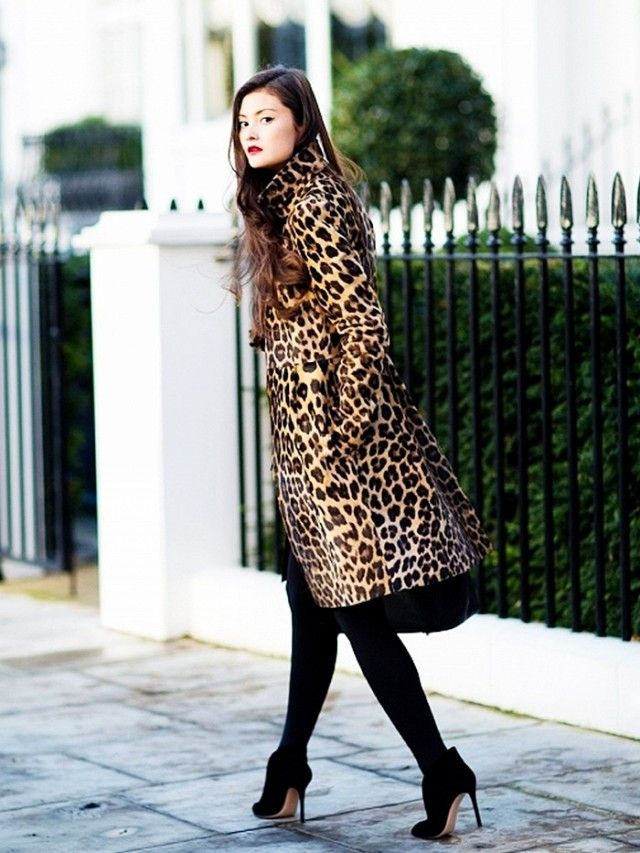 Peony Lim in a Giambattista Valli leopard print coat.