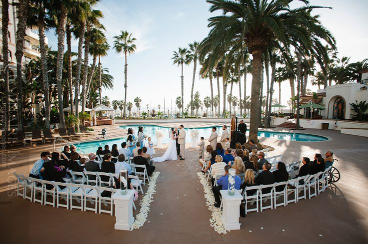 Wed on the pool patio at the Waterfront Beach Resort, Huntington Beach, CA