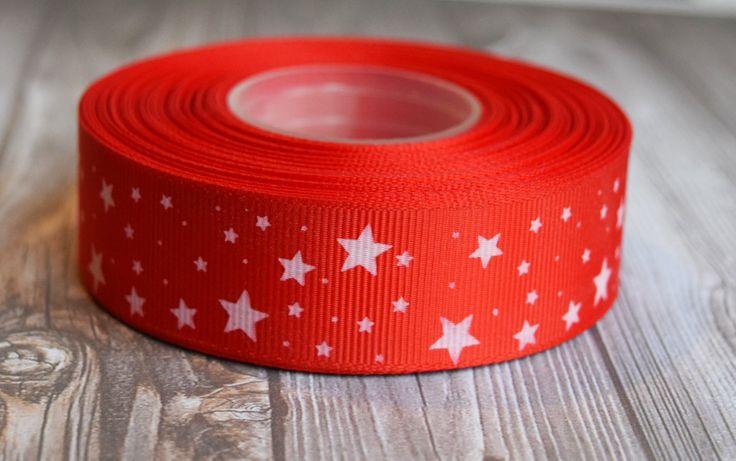 "Patriotic stars ribbon - 1"" grosgrain ribbon - Red white stars - 3 or 5 yard lot - 4th of July ribbon - Military ribbon - Independence day by Shaebugsupply on Etsy"