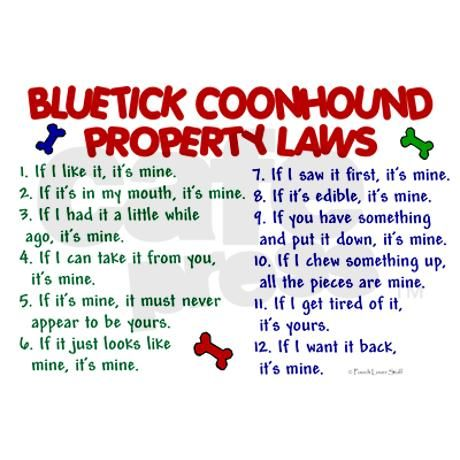 Bluetick Coonhound Property Laws 2 Ornament (Round Ornament (Round) by poochloverstuff