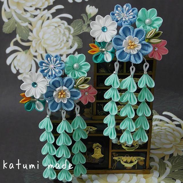 #kanzashi #kanzashiflower #七五三 #ぱっちん留め の新作です。 #髪飾り #つまみ細工 #簪