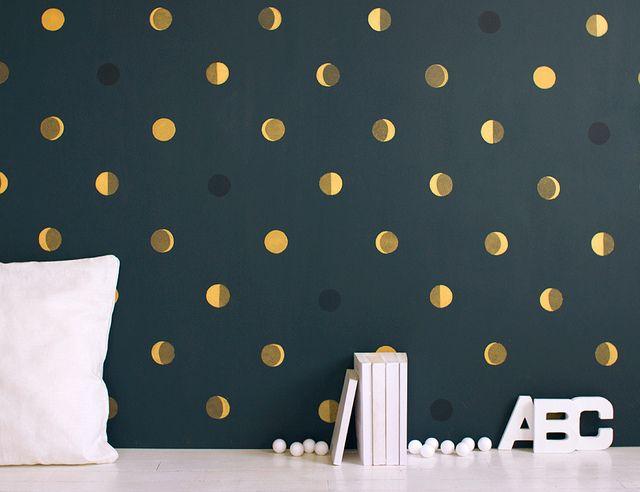 Balance bold wallpaper (from Bartsch Paris) with minimalist decor. - kids room or bathroom. Love the subtle lunar theme!