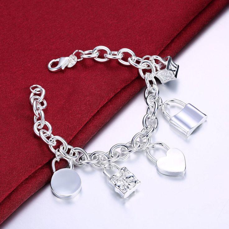 Высокое качество 925 штампованные посеребренная сердце замок 5 подвески браслеты браслеты женщины ювелирные изделия бесплатная доставкакупить в магазине Smile 925 sterling silver jewelry stroe 2014наAliExpress