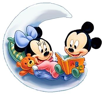 Baby Mickey & Minnie Read on Moon