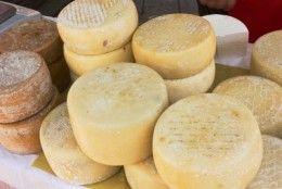 Homemade hard cheese.