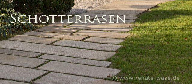 Materialauswahl für Wege und Zufahrt - Schotterrasen befahrbar, daneben Granitplatten