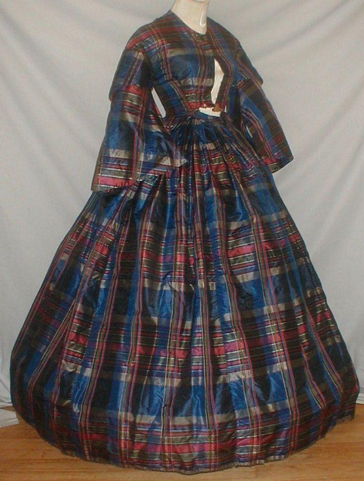 Vivid 1860's Blue Red Plaid Silk Vintage Dress | eBay