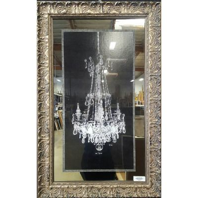 """Chandelier on Black I"" framed and hand embellished with Swarovski Elements 💎💎💎 ☎ Call (909) 989-8558 or visit our shop in #RanchoCucamonga to purchase this. #art #homedecor #swarovski #giftideas #giftsforher #wallart #interiordesign #customframing..."