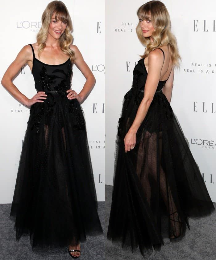 Jaime King wearing an Elie Saab Fall 2017 gown and Giuseppe Zanotti sandals at Elle's 24th Annual Women in Hollywood Celebration