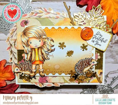From our Design Team! Card by Mindy for inspiration on La-La Land Crafts blog. Click on the photo for product list and coloring details