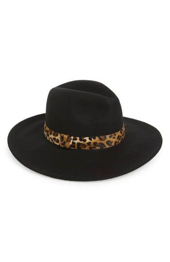 Women's Halogen Leopard Trim Felt Panama Hat – Black – Products