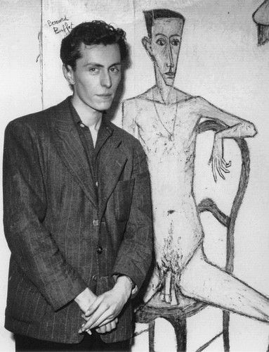 Bernard Buffet - (I love how he is modestly covering his own body, while the painting shows no shame.)