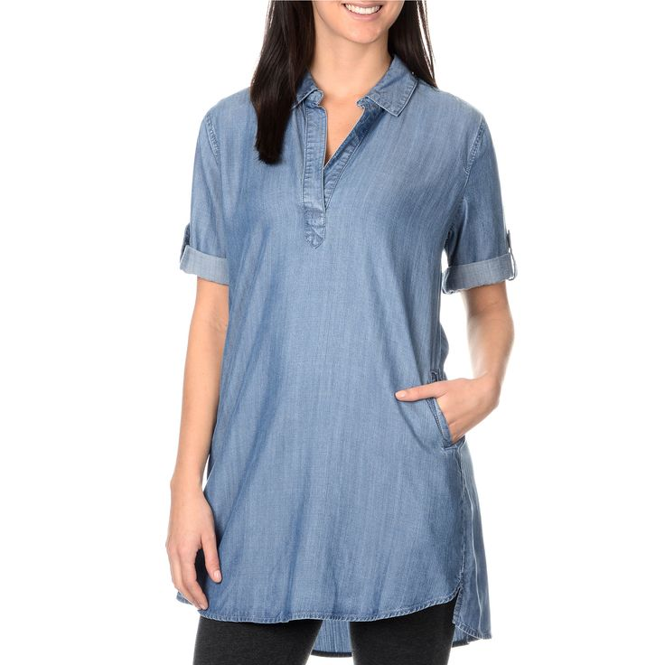 Stylish and versatile, this chambray shirt dress offers casual style and comfort. With a shirt collar, roll tab short sleeves, and high-low shirt tail hem, this shirt is perfect for everyday wear.