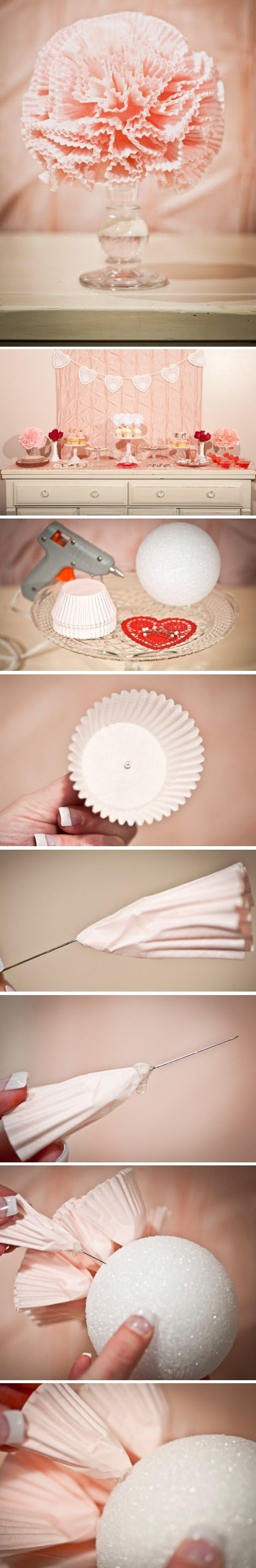 beautiful piece made of cupcake liners - Homemade - Handmade  - DYI - Craft - Nice Idea - Party Idea