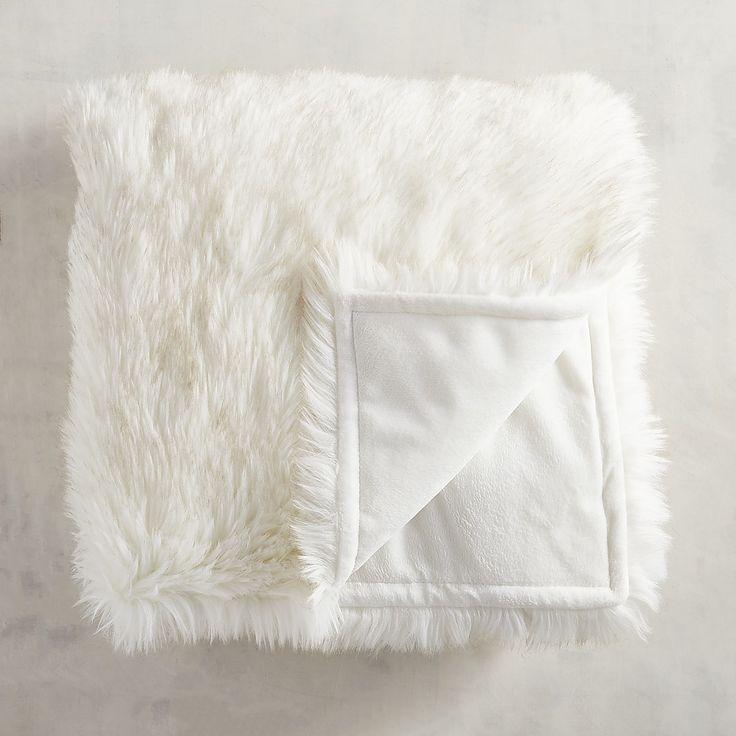 Faux Fur Arctic Fox Throw White