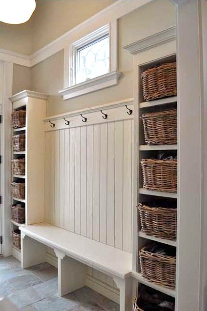 Clever Ideas to Decorate Your Hallway - love the bench to sit the kids on while I do their shoes!