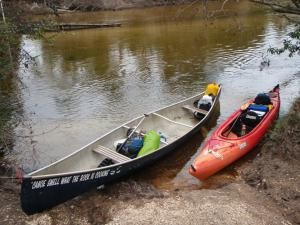 Coldwater Creek Canoe and Kayak with Gear at Takeout - Photo © by George E. Sayour