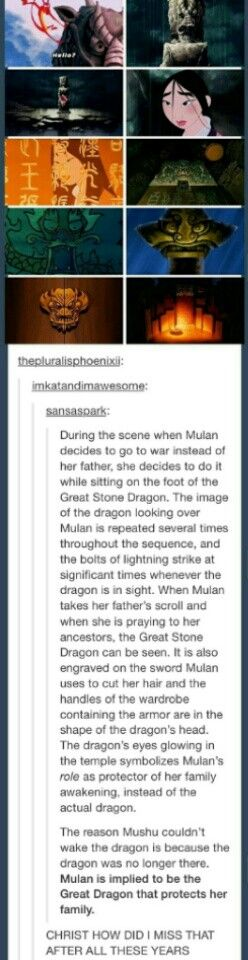 Mulan is the the Great Stone Dragon