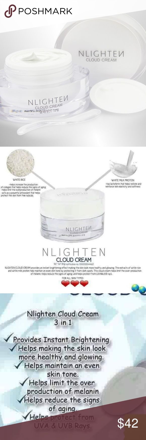 NWORLD NLIGHTEN CLOUD CREAM NLighten Cloud Cream is an instant lightening cream that helps your skin look healthy and glowing making it more vibrant and smooth. Especially formulated to reveal the more beautiful you. With extracts of white rice and white milk protein, NLighten Cloud Cream helps: ✓ Maintain an even skin tone by protecting it from dark spots. ✓ Helps limit the over-production of melanin ✓ Helps reduce the signs of aging and helps protect from UVA & UVB rays.  ** Price is firm…